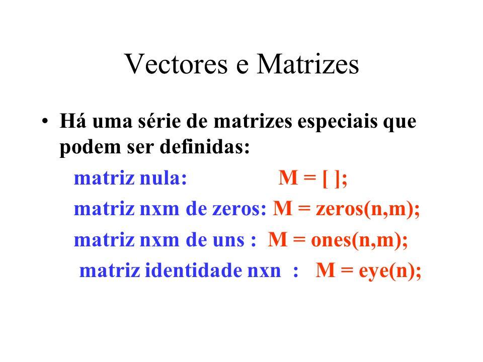 Vectores e Matrizes Há uma série de matrizes especiais que podem ser definidas: matriz nula: M = [ ];